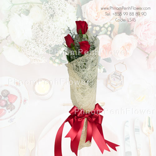 3 Red Roses Bouquet – LS-15