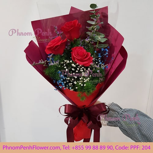 3 Red Roses Bouquet – PPF-204
