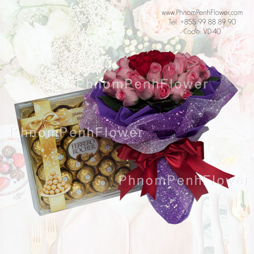 36 Pink & Red Roses bouquet with Chocolate