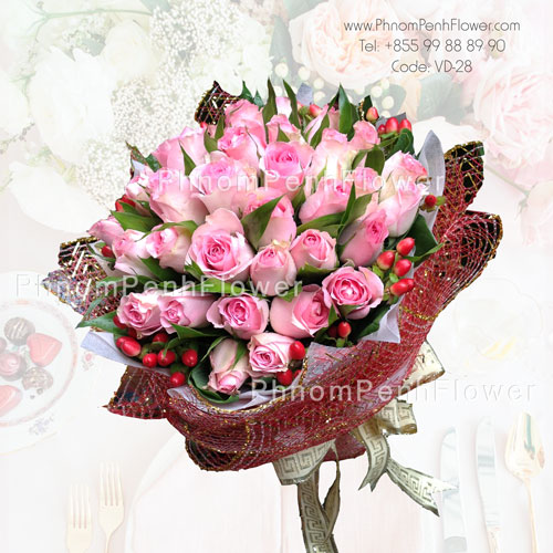 36 Pink Roses bouquet – VD-28