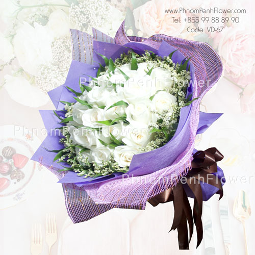 36 White Roses bouquet – VD-67
