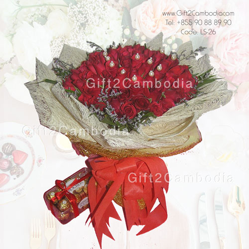 99 Roses Bouquet with Chocolate