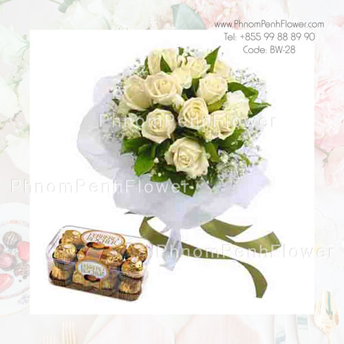 A Dozen white rose bouquet with Chocolate – BW-28