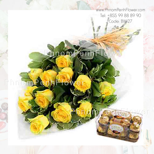 A Dozen yellow roses bouquet with Chocolate – BW-27