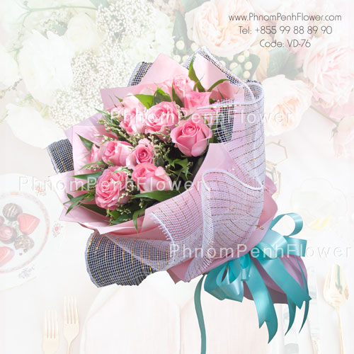 Bouquet of one dozen pink roses -VD-76