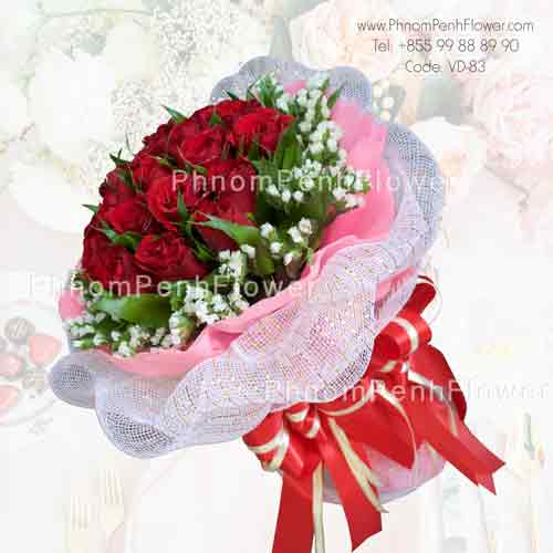 Elegant 18 red rose bouquet – VD-83