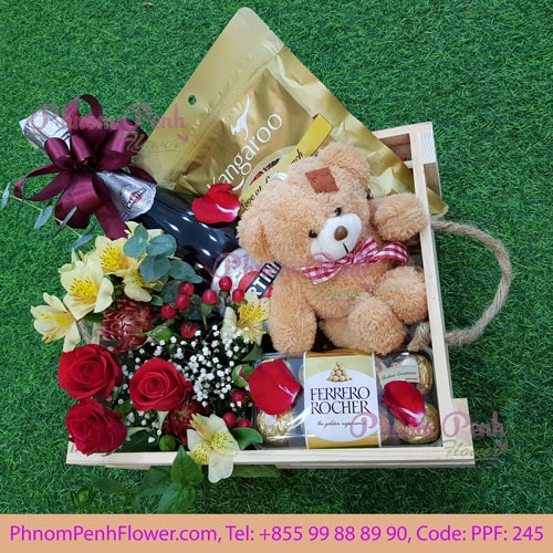 Gifts box with Champagne & Flowers