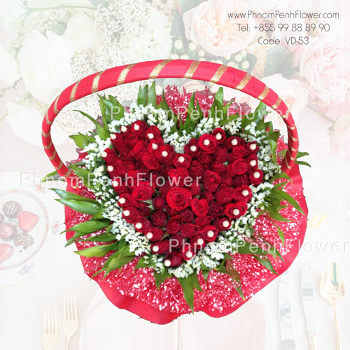 Heart Red Roses Basket