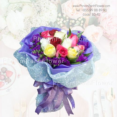 Mixed 12 Rose Bouquet- BD-40