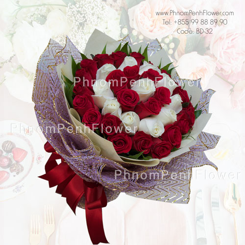 Mixed 36 Red & White Rose – BD-32