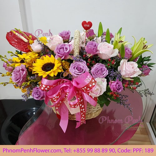 Mixed Cut Flower Basket PPF-189