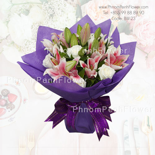 Pink lily & white rose bouquet – BW-23