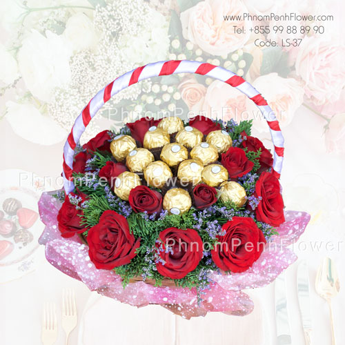 Red Roses Basket with Ferrero Chocolate – LS-37