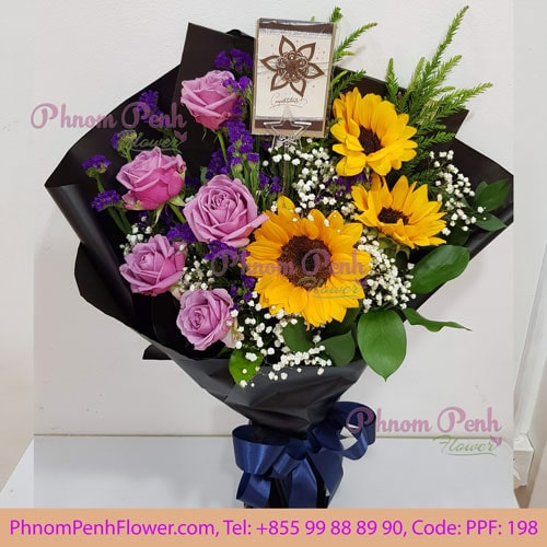 Sunflower with Purple rose bouquet - PPF-198