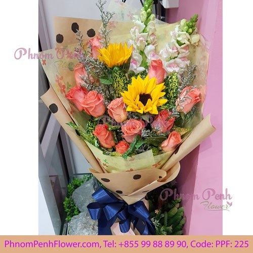 Sunflower with orange rose bouquet - PPF -225