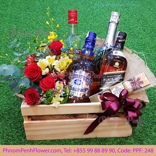 Wine gift box with flower - PPF-248