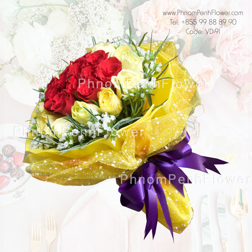 Yellow & Red Assorted Spring Roses