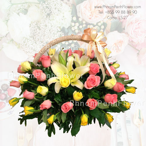 Yellow lily & Mixed roses basket