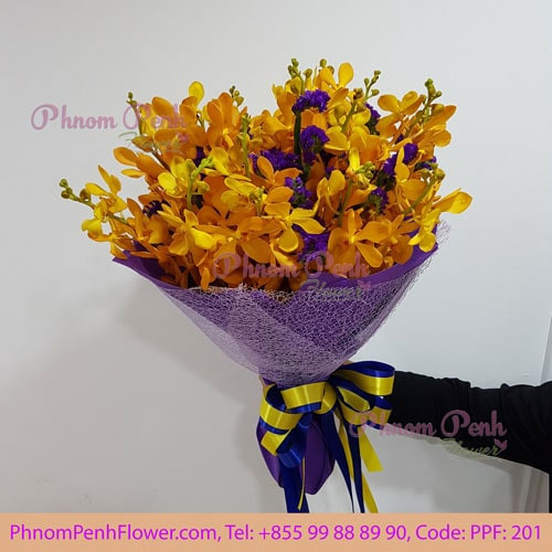 Yellow orchid bouquet - PPF - 201