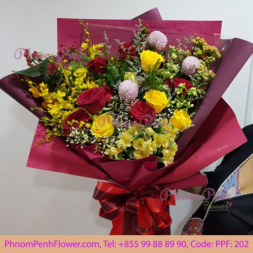 Yellow orchid with mixed rose bouquet - PPF-202