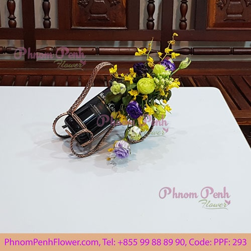 Red Wine gift with flower decoration - PPF-293