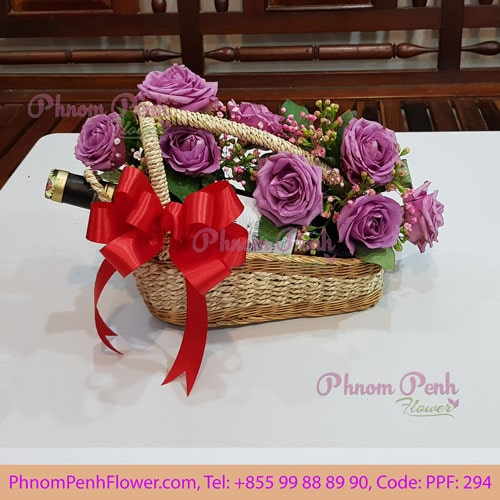 Flower & Red Wine gift - PPF-294