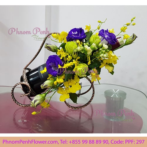 Flowers & Wine gift basket - PPF-297