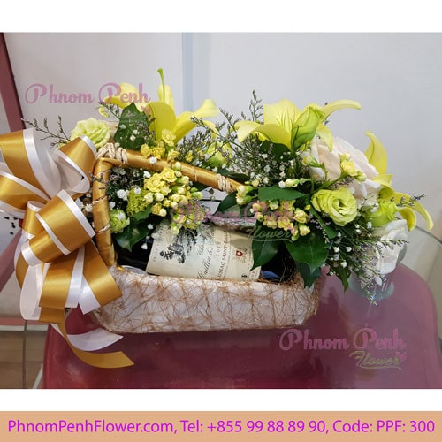 Flower & Red Wine gift - PPF -300