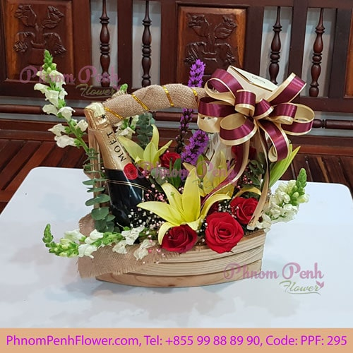 Champagne with flower basket - PPF-295