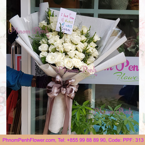PPF-313 White roses beauty bouquet