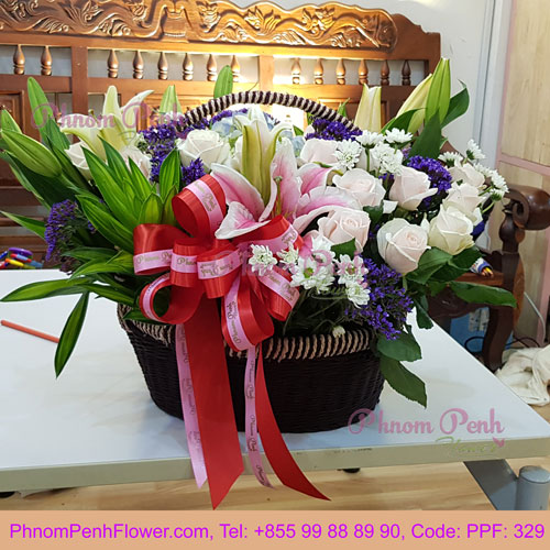 PPF-329 Basket of Pink rose & lily
