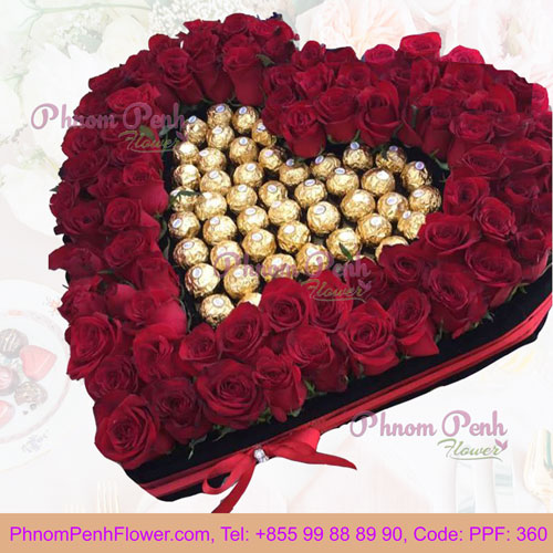 PPF-360 Red Roses in a heart Shape