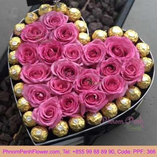 PPF-366 Pink Roses in a heart Shaped