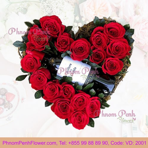 Red Roses with wine in heart box – VD - 2001
