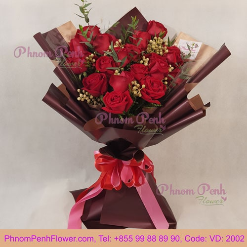 Bouquet of 18 red roses – VD - 2002