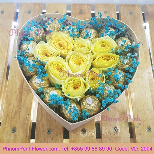 Preserve Yellow rose in box - VD - 2004