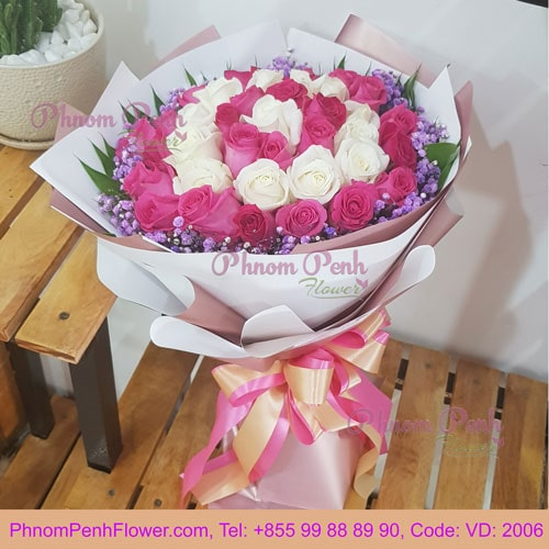 Bouquet of Mixed 36 Pink & White Rose – VD - 2006