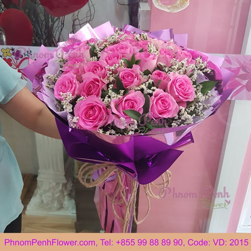 Bouquet of 24 Pink Rose – VD - 2015