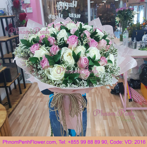 Mixed 36 Pink & White Rose – VD - 2016