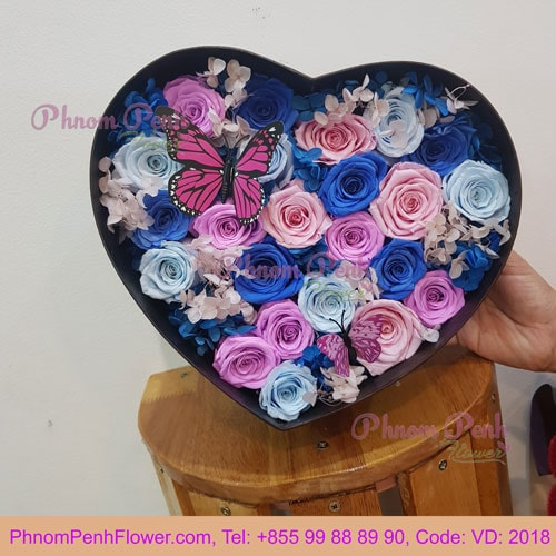 Mixed Preserve rose in heart box - VD - 2018