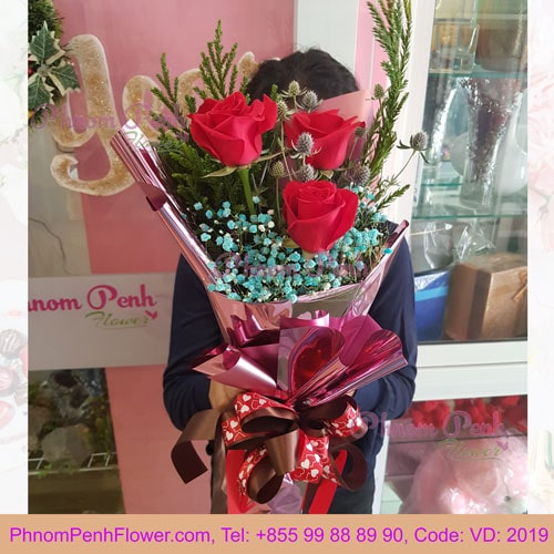 3 red roses bouquet – VD - 2019