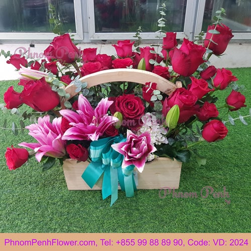 PInk lily & Red Rose basket - VD - 2024