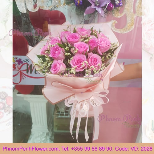 Bouquet of 12 Pink Rose - VD - 2028