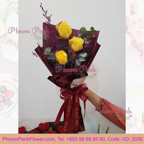 3 yellow rose bouquet – VD - 2030