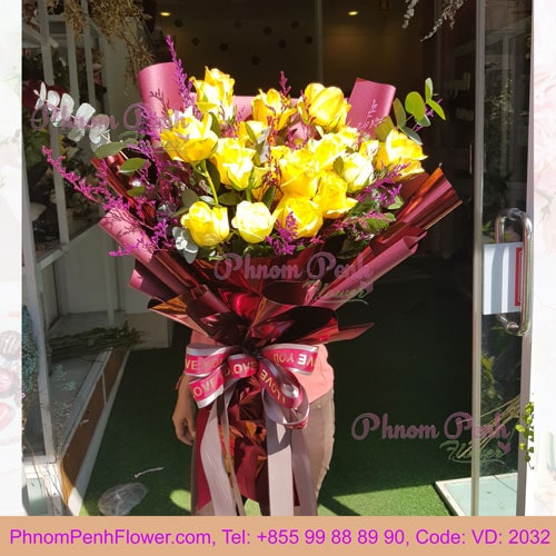 Bouquet of 24 Yellow Roses – VD - 2032