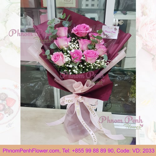 9 Pink roses bouquet – VD - 2033