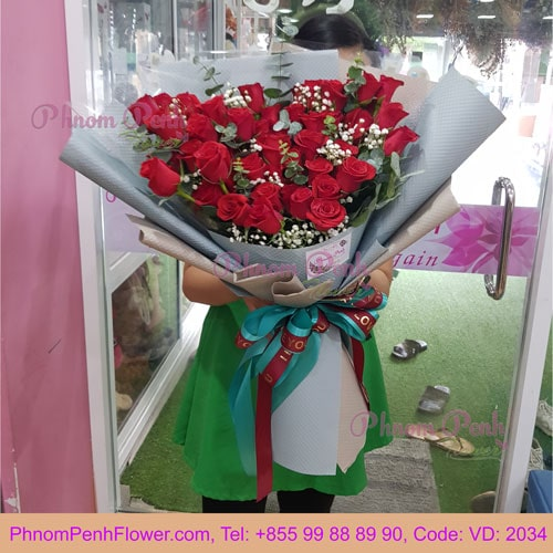 Bouquet of 50 Red Roses – VD - 2034