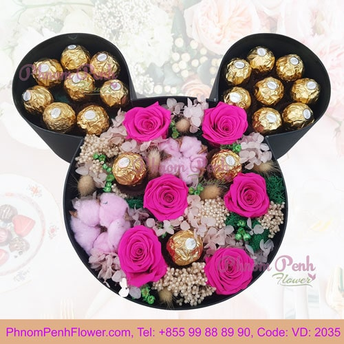 Preserve rose in Mickey box - VD - 2035