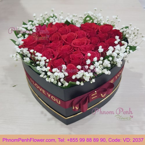 Red Rose in Heart Box – VD-2037