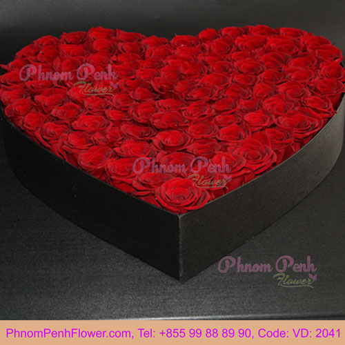 Heart Flowers Box - VD - 2041